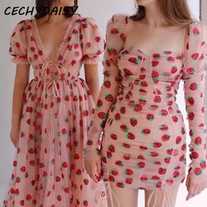 Fresa vestido bordado en cascada volante Diseño con cuello en V vestido de las mujeres de manga corta dulce Maxi vacaciones vestidos Boho ropa de encaje