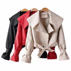 Pirate Curiosità Streetwear Loose Women Faux del rivestimento di cuoio Donna Autunno 2019 gira giù l'arco della chiusura lampo giacche casual giacca PU