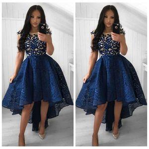 2019 Sheer High Low Line Кружевные платья выпускного вечера Jewel Шея с короткими рукавами кружевные аппликации Девушки выпускные платья High Low Vestidos De Special Gown