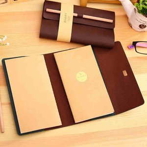1 Leather PU Cover+2 Notebook+1 Wood Pencil Stationery Retro Office Business Note Book Blank Diary Paper Traveler Notepad Supply