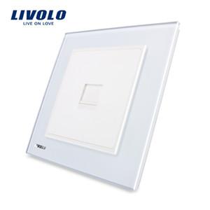 LIVOLO UK Standard Smart Power Outlet,Wall Single telephone tel socket (TEL), Crystal Tempered Black Glass Panel