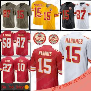 Kansas 15 Patrick Mahomes İl Jersey 10 Tyreek Tepesi 87 Travis Kelce 27 Kareem Avı erkekler Futbol Formalar tişört