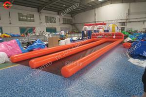 10x3.5 متر مخصص ممرات مزدوجة نفخ الإنسان البولينج الكرة دبابيس التفاعلية البولينج زقاق الرياضة المحكمة الساحة كرنفال لعبة