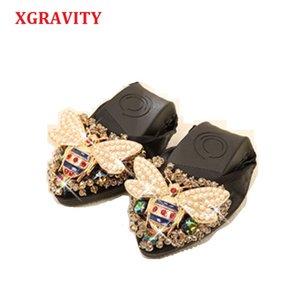 XGRAVITY Bee Designer Crystal Woman Big Size Flat Shoes Elegant Comfortable Lady Fashion Rhinestone Women Soft Girl Shoes A031 cs01