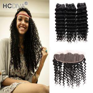Dell'onda profonda capelli di Remy 3 Bundle Con 13x4 Pizzo frontale nera naturale arricciatura profonda tessuto 8a Virgin dei capelli non trattati dei capelli umani di alta qualità