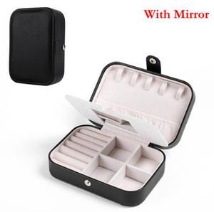 Bijoux Boîte de rangement femmes PU Affichage Ring Housse en cuir Bijoux Portable miroir pour Organizerwith Colliers Box Voyage OOA7410