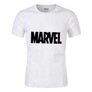 Showtly MARVEL Studios T-shirt blanc Captain America fer Araignée manches courtes Vogue The Avengers Summer T-Tops