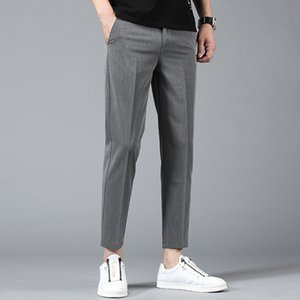 Spring   summer 2020 new style cropped trousers for men's trousers for youth loose straight tube men's Korean Trend