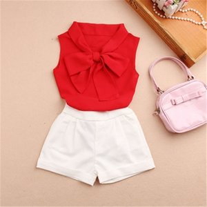 Cheap 2019 Summer Baby Teenage Children Girls Blouse Blusas Chiffon Bow Sleeveless School Girl Tops And Blouses Shirts For Kids