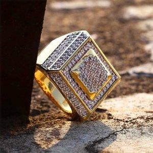Amante regalo dorato di modo classico Anelli maschile Luxury Design placcato oro 18k zirconi Anelli Uomo Marca Anello Fine Jewelry