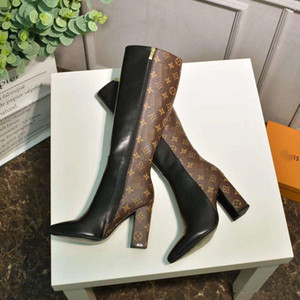 Klasik Marka Kadın Çizmeler Deri Tasarımcılar Kadın Ayakkabı Bayanlar Için En İyi Kalite Yüksek Topuk Çizmeler Güz Kış Çizmeler Artı Boyutu Gerçek Fotoğraf