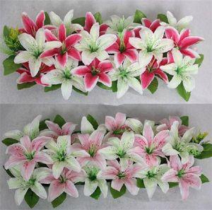 Arreglos florales artificiales de seda del lirio Arco Fila Flores forma cuadrada del lirio de la flor de la boda del partido decorativo del hogar Flores EEA296