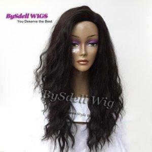 Prime naturel Looking Brésil Plage eau cheveux bouclés perruque synthétique longue noire 1B Couleur des cheveux Kinky vague perruque de dentelle pleine