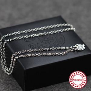 S925 collana in argento sterling perlina catena gioielli classici personalizzati collana lunga maglione coppia modelli invia regalo dell'amante