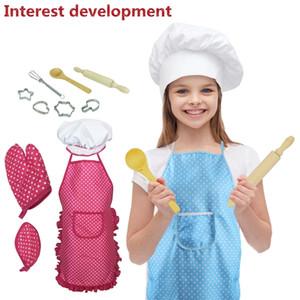 Enfants Chef Set bricolage cuisine Costume de cuisson d'intérêt Jeu de développement Gants Tablier Rolling Pin Eggbeater Cooker cadeau pour les enfants