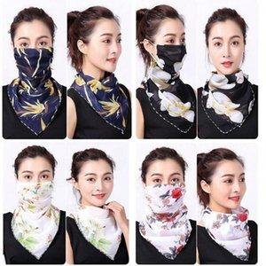 Женщины шарф маски для лица 38 стилей шелкового шифон Handkerchief Открытых ветрозащитного Половина лицо пыленепроницаемом Зонт Маска Шарф LJJO7663