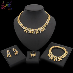 Yulaili Trendy African Jewelry Sets Crystal Pendant Choker Charm Bracelet Earrings Ring Nigeria Wedding Bridal Accessories Jewelery