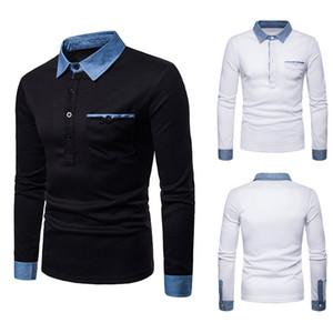 Plus Size Designer Hommes T-shirts Mode Patchwork Lapel manches longues Polos Casual Tops Solid Color