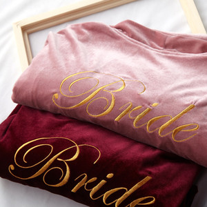 Velvet Bridal Bridesmaid Robes 2019 Custom Design Bridesmaid Gifts Embroidery Bridal Party Robes Long Sleeves M L XXL Pajama Wear Kimono