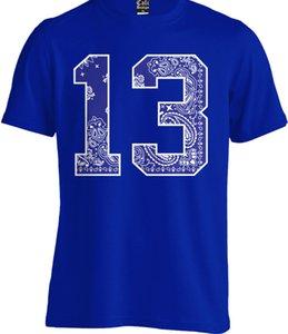# 13 Blue Bandana Stampa T Shirt Urbana Street Wear 13 Jersey West Coast La Og Tee