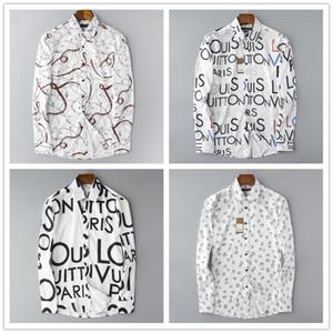 Italia stripe autunno Abito in cotone modo della camicia Lettera degli uomini di inverno uomini puri della camicia di polo di modo casuale della grata medusa stampa camicia