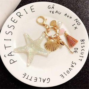 Shell Keychain Sea World Color Tassel Car Key Chain Bag Pendant Keyrings Starfish Pearl Elegant for Women Girls Cartoon Q-022