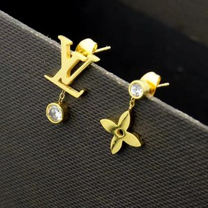 quattro fogli di design di lusso donne gioielli orecchini fiore orecchini in oro rosa Elagant asimmetrica lettera perno V diamante