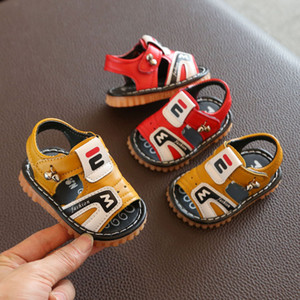2020 Baby Sound Step Shoe Men's Baby Sandals 6-12 Months Summer Soft-Sole Breathable Shoes