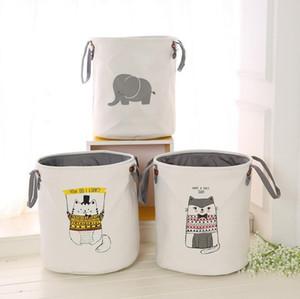 Утолщенный двойное хранение сумки для хранения корзины для хранения ведра EVA Детской комнаты игрушки одежды из хлопка мешок прачечного