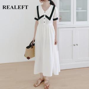 REALEFT 2020 New Summer bouton Patchwork est élégant Femmes Robe longue Doll Casual Col lâche Robe Femme Style d'université