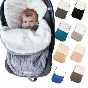 Couverture chaude de bébé en coton tricoté nouveau-né Sac à langer Wrap Baby Soft Sleeping sleepsacks Chancelière poussette Accessoires D1750n15