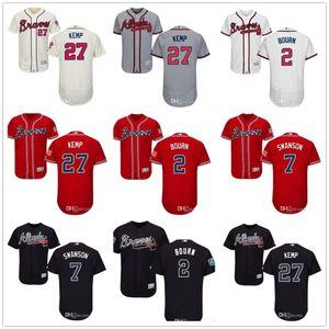Custom Men Women Youth Majestic Jersey #7 Dansby Swanson 2 Michael Bourn 27 Matt Kemp Home Wholesale Baseball Jerseys
