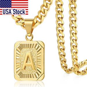 Pendant Necklaces Initial letter Pendant a b c Charm Gold Necklace for Women Men Cuban Link Chain Dropshipping GPM05C
