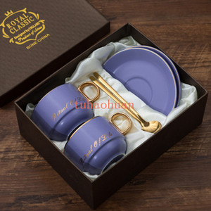 Brief High-end Two-piece With Gift Box European Small Luxury Simple Home Afternoon Tea Cups Ceramic Coffee Cups and Saucers