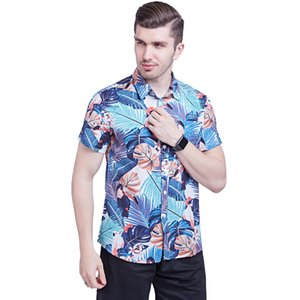 mens designerThin silk cotton short sleeve printed Hawaii shirt