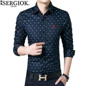 Dudalina Marca Sergio K Camisa Masculina Social algodón de manga larga camisa casual de la impresión floral bordado Hombres Ropa Blusas
