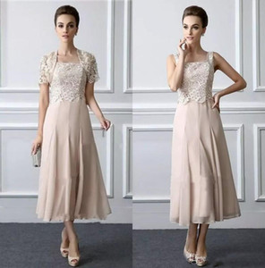 Elegante longitud de té La madre de la novia viste los vestidos formales de encaje con una chaqueta de cuello cuadrado Elegante vestido de dos piezas para el novio de la boda de la madre