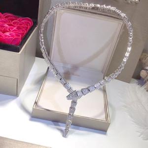 حار بيع الأزياء سيدة نساء النحاس 18K مطلية بالذهب وضع كامل الماس الأفعى الشكل واسعة سلسلة عشاء القلائد الأفعى الهيكل العظمي قلادة