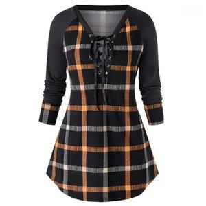 Mode Plus Size Vêtements pour femmes Plaid Print Designer Femmes Robes lambrissé couleur V Neck Robes Casual