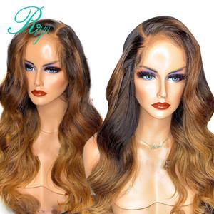 Kadınlar Vücut Dalga Dantel Frontal Peruk İçin Ombre Blonde1BT27 Brezilyalı tam Dantel Açık Peruk sentetik Saç ısıya dayanıklı preplucked