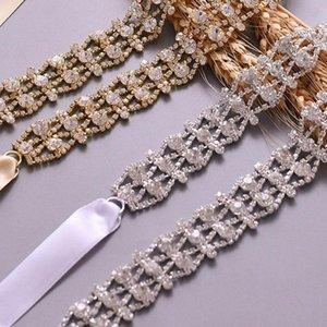 Handmade Crystal Alloy Bridal Belt Rhinestone Wedding Dress Sashes for Bride Bridesmaid Accessories (Silver,Gold)