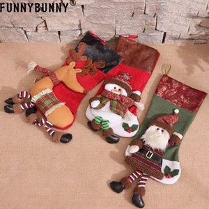 FUNNYBUNNY 3D Design Christmas Hanging Bas Ensemble de décoration de vacances pour Noël Ornement de cheminée (Père Noël, bonhomme de neige et renne)