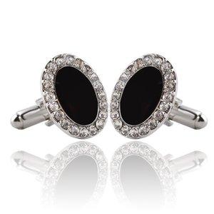 Siyah Büyük Gem Kristal Kol Düğmeleri İçin Erkekler Yüksek Kaliteli Avukat Damat Düğün Lüks Kol Düğmeleri İçin Erkek Gömlek Kol Düğmeleri zj-0903915
