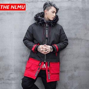 Hip Hop Parkas Chaquetas Hombres Mujeres 2019 Winter Collar de piel con capucha cazadora abrigos largos caliente gruesa chaqueta Parka Streetwear WG464