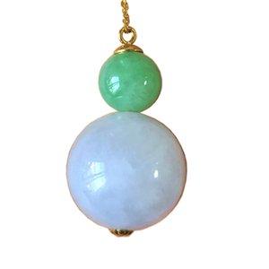 Природные Нежинского Мьянма зеленый лаванды тыква Fulu ожерелье AU750 золото ожерелье