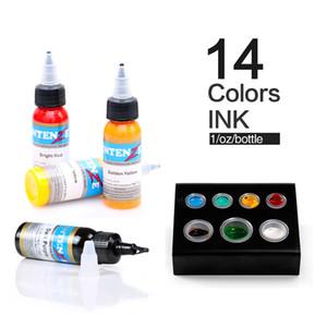 Neue Dauer 14 Farbe Tattoofarbe 1 Unze / Flasche Tattoo Ink Set Werkzeug
