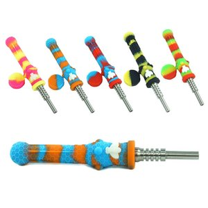 DHL shipping Silicone Smoking Pipe Bong Water Pipes With 14mm Metal Straw Silicone Caps Oil Rigs Concentrate