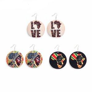Moda de madeira redonda pingente brincos coloridos imprimir cartas Africano Mapas Feminino Charme Dangle eardrop Mulheres Ear Hook Madeira Brinco Jóias