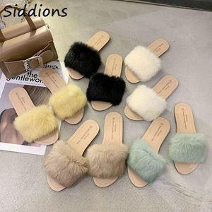 2020 Luxus-Schuh-Frauen-Entwerfer-Sommer-Schuhe Dame Pumps Slides Big Size Frau Feder Wohnungen Fur Slippers Peep Toe Mules