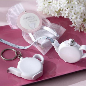 Love is Brewing Teapot Measuring Tape Measure Keychain Key Chain Portable Key Ring Wedding Party Favour Gift